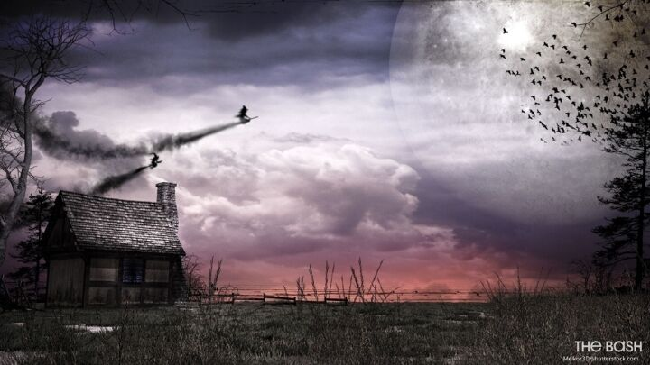 Halloween Zoom Background - Flying Witches