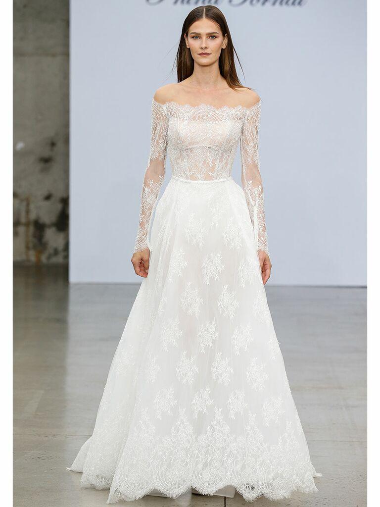 Pnina Tournai wedding dress long-sleeve off-the-shoulder lace dress