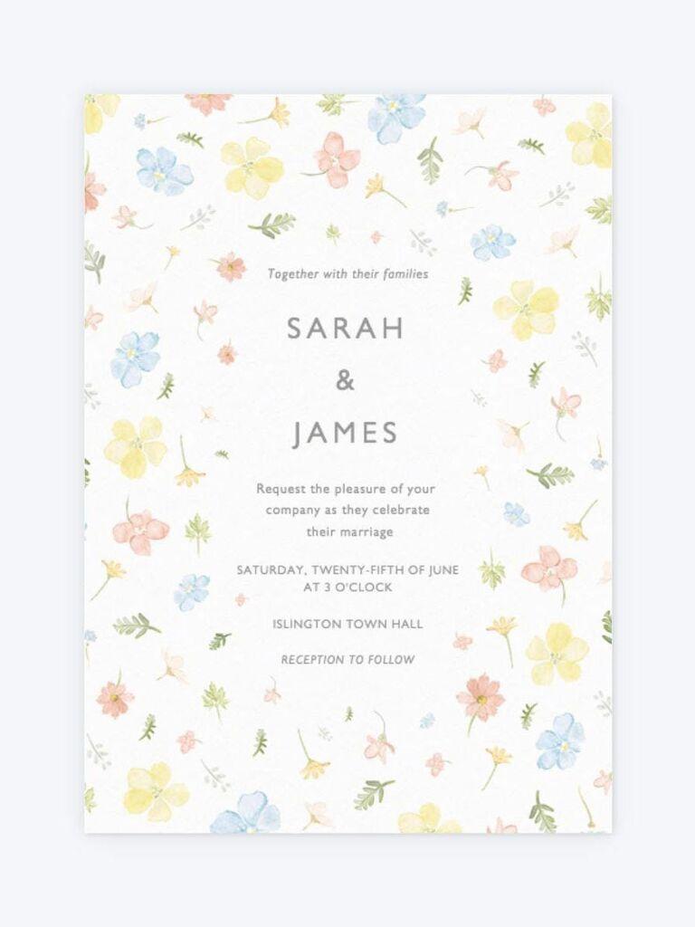 Papier pastel floral spring wedding invitation