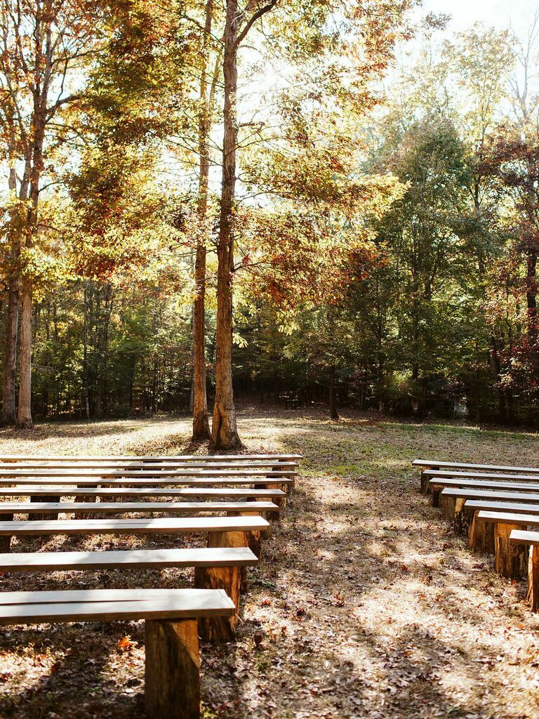 Fall wedding ideas wooden benches