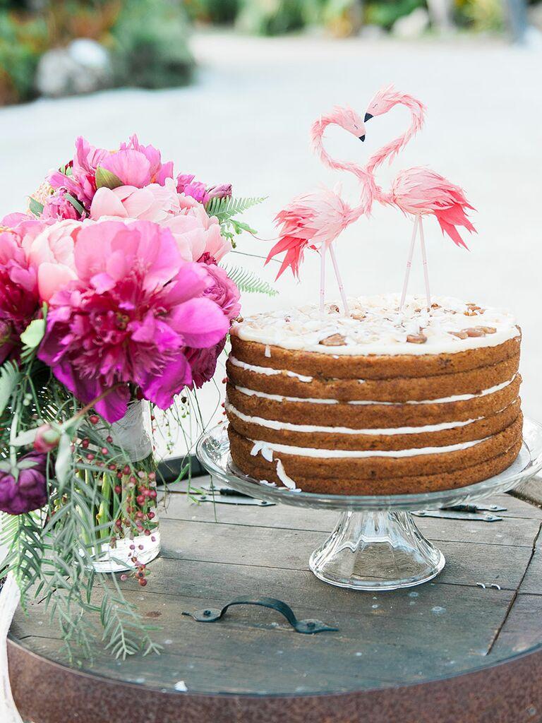 Single tier wedding cake rustic simple
