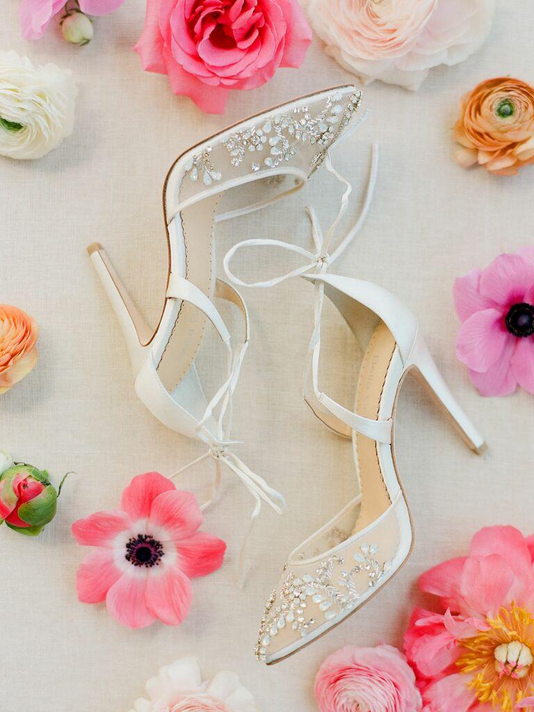 White wedding shoe heels with beading