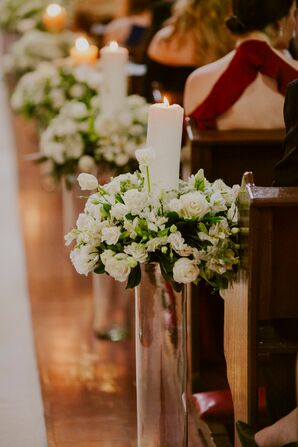 Ivory Rose and Pillar Candle Aisle Decorations
