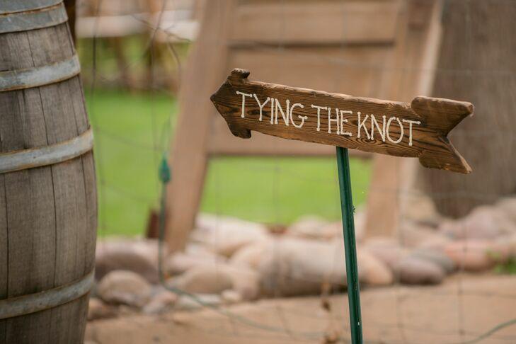 Wooden Arrow Wedding Sign in Laveen, Arizona
