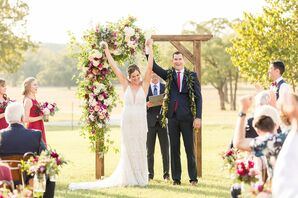 Rustic Wedding Ceremony with Wood Arch and Hawaiian Flower Arrangements