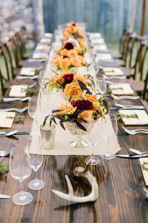 Rustic Fall Tablescape with Antler Accents