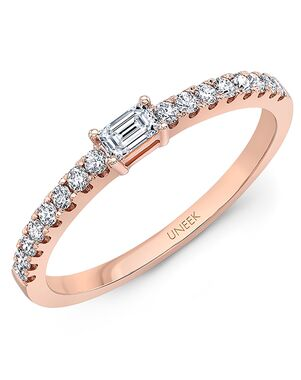 "Uneek Fine Jewelry Uneek ""Larrabee"" Stackable Wedding Band, 14K Rose Gold - LVBNA985R Rose Gold Wedding Ring"