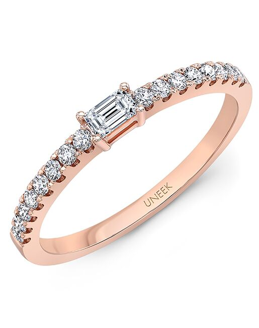 "Uneek Fine Jewelry Uneek ""Larrabee"" Stackable Wedding Band, 14K Rose Gold - LVBNA985R Rose Gold Wedding Ring"
