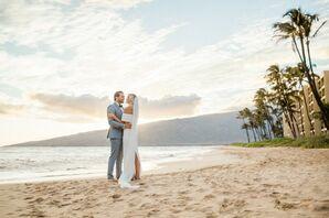 Bride and Groom on a Hawaiian Beach