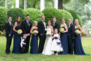 Bill Levkoff Long Navy Bridesmaid Dresses