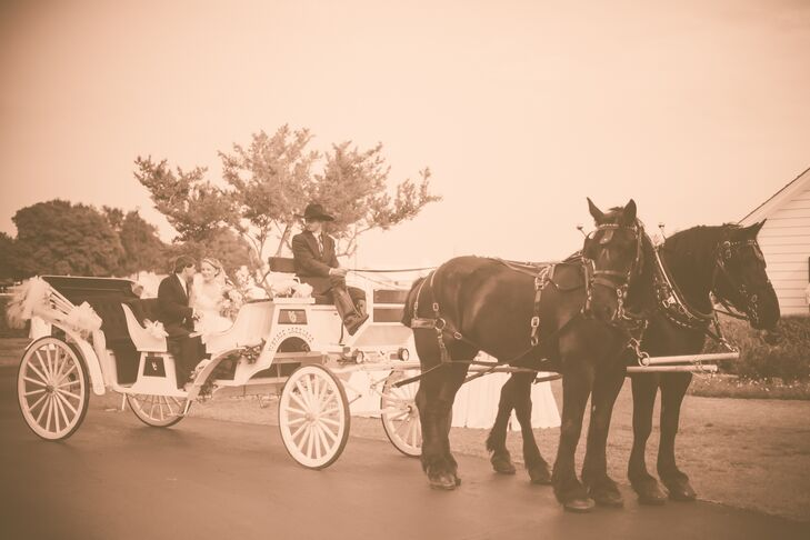 At the end of the reception, Mary Martha and Preston made their grand exit in a horse-drawn carriage.