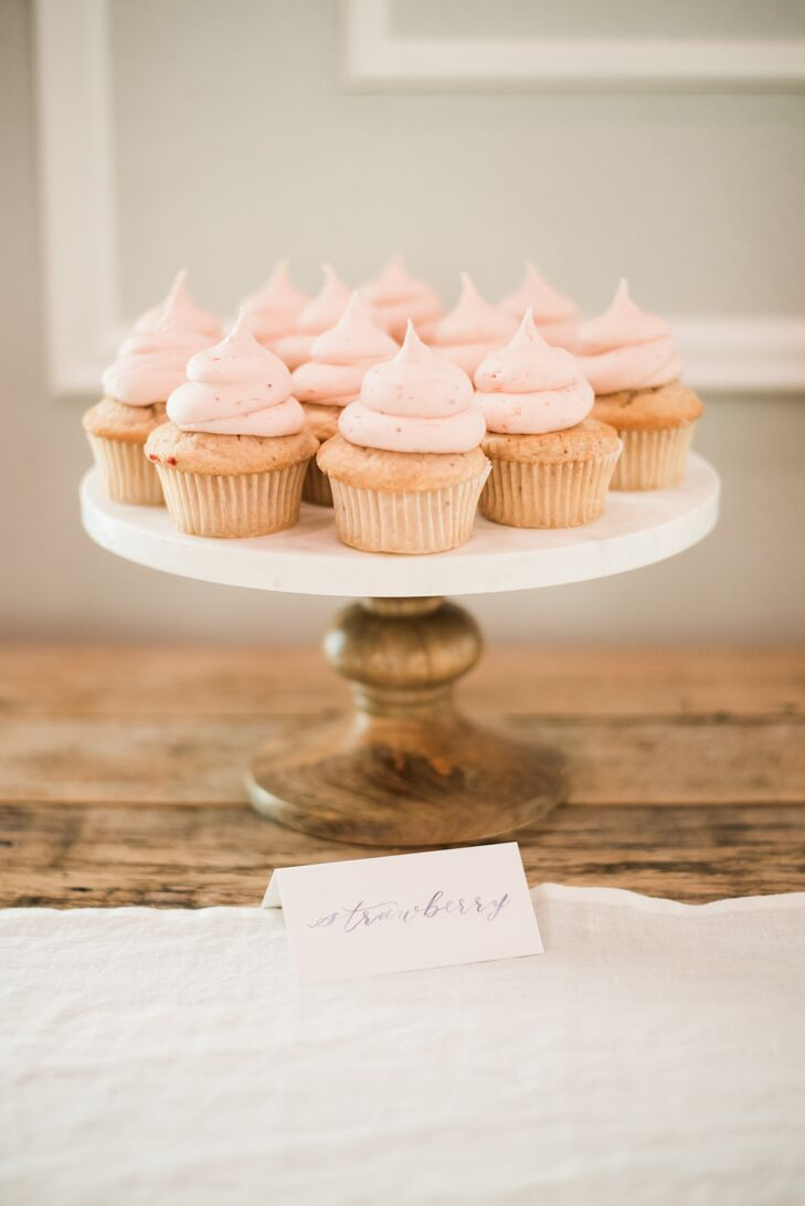 """Along with a small cake for cutting and doughnuts, cupcakes in a variety of flavors like strawberry, red velvet and peanut butter cup were served. """"I was most excited about the desserts,"""" says Mary. """"I'm a big baker and a huge sweets fan, so we ended up having three types of dessert."""""""