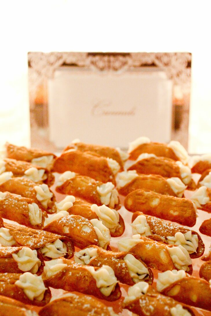 Drawing on their Italian roots, the couple served sweet cannolis as part of their dessert spread.