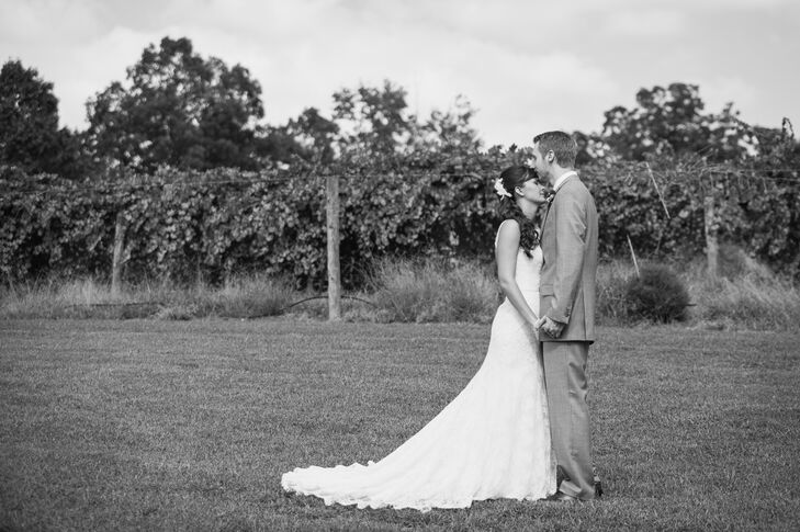 """Rocky River Vineyards was the perfect background for our rustic, handmade wedding,"" says Megan."