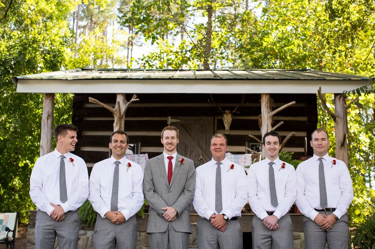 Gray and Red Groomsmen Attire