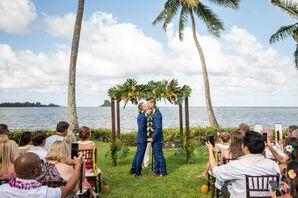 Tropical Same-Sex Ceremony with Chuppah on Hawaiian Beach