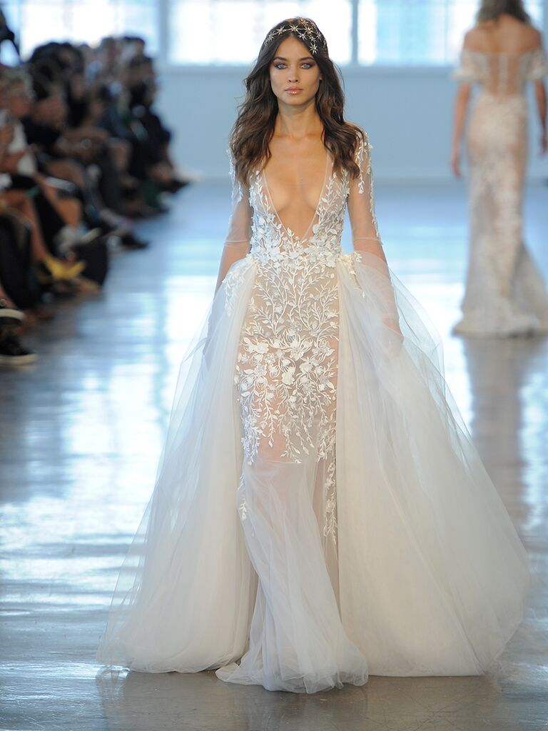 37b311520cca Berta Fall/Winter 2018 sheer wedding dress with full tulle skirt plunging  neckline and illusion