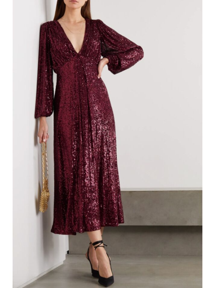 Maroon sequin midi dress with billow sleeves