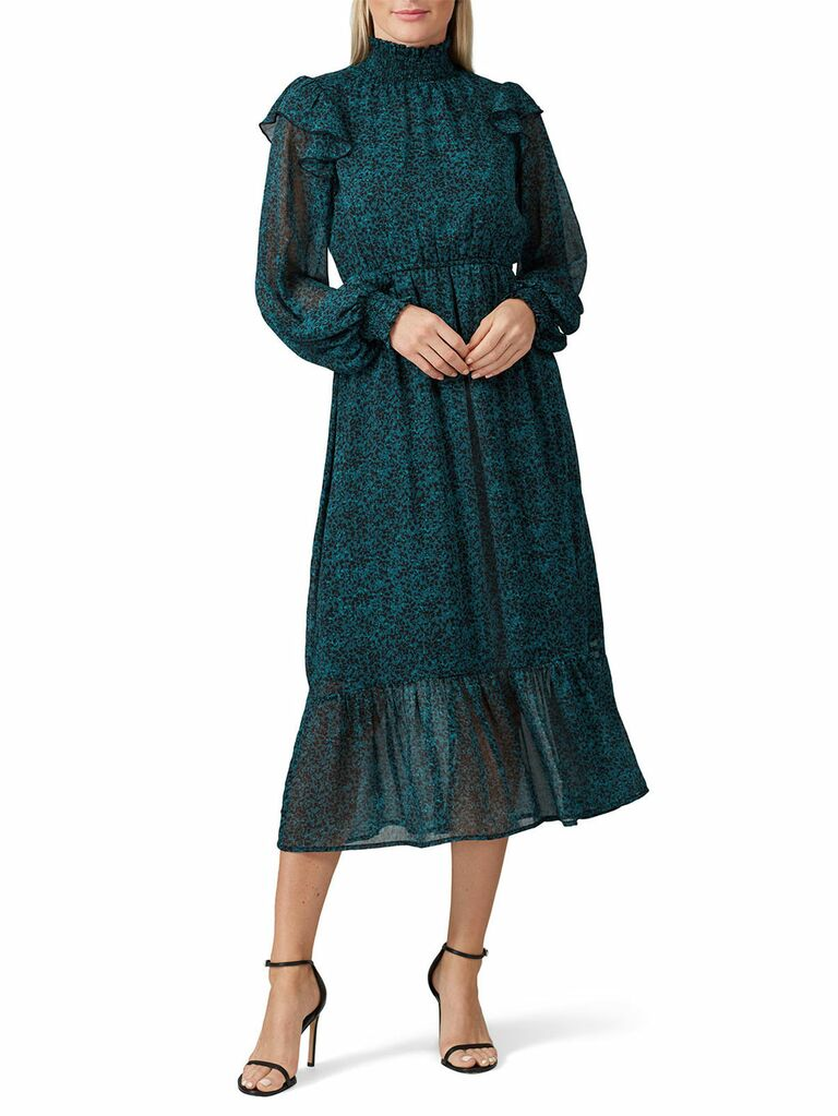 Dark green and blue peasant cottagecore dress with long sleeves and neckline ruffles
