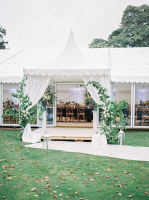 Rose Bush and Lantern-Framed Reception Tent Entrance