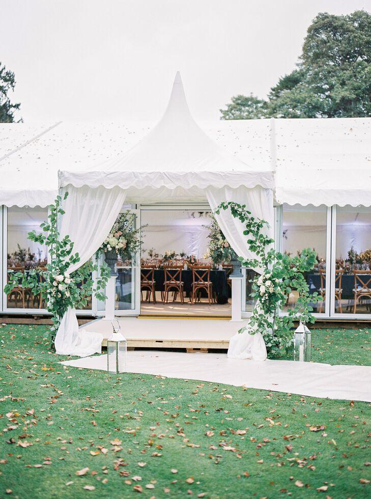 Rose Bush and Lantern-Framed Reception Tent Entrance