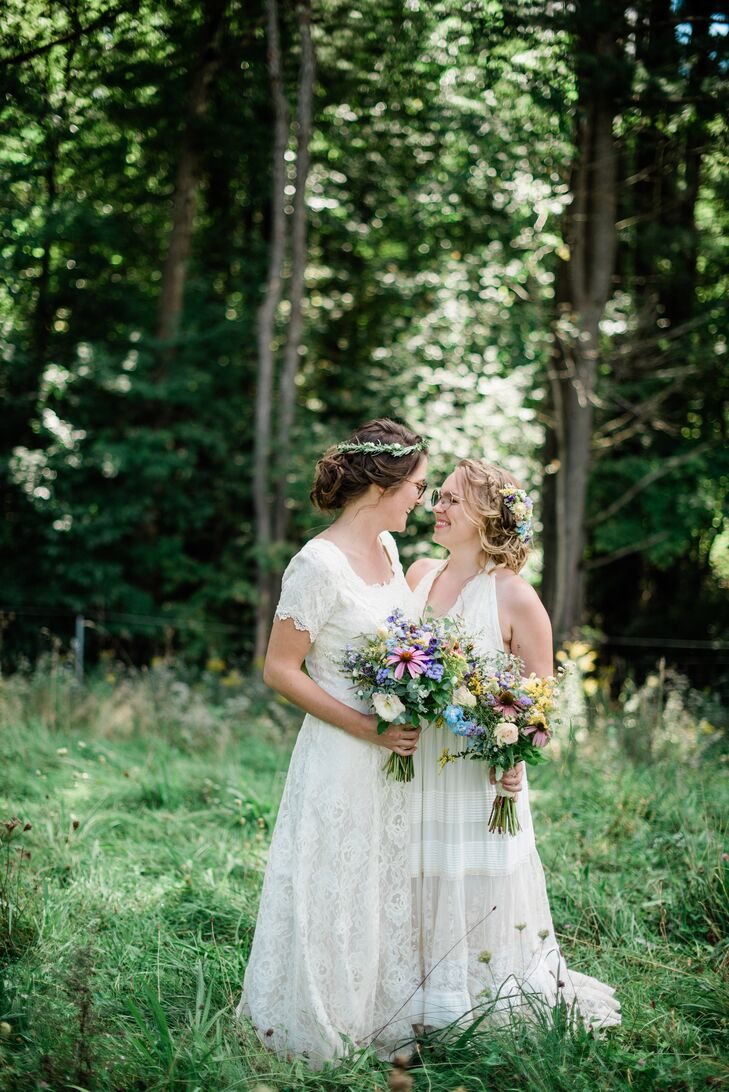 Brides with Bohemian Dresses, Natural Bouquets and Updos