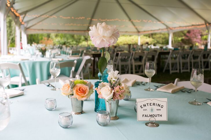 Sarah and Ben hoped to achieve a classic, casually elegant feel. For table decor, they utilized an array of silver pieces and julep cups filled with fresh blooms.