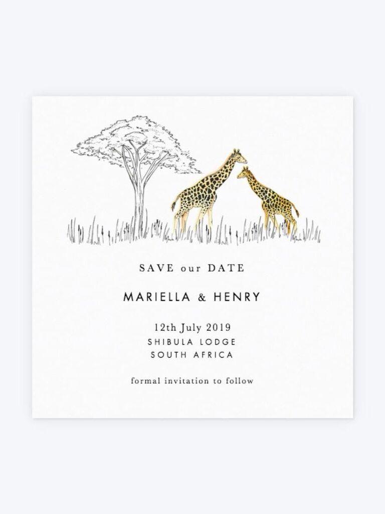 Papier safari destination wedding save-the-date