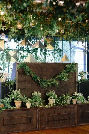Garlands and Potted Plants Backdrop