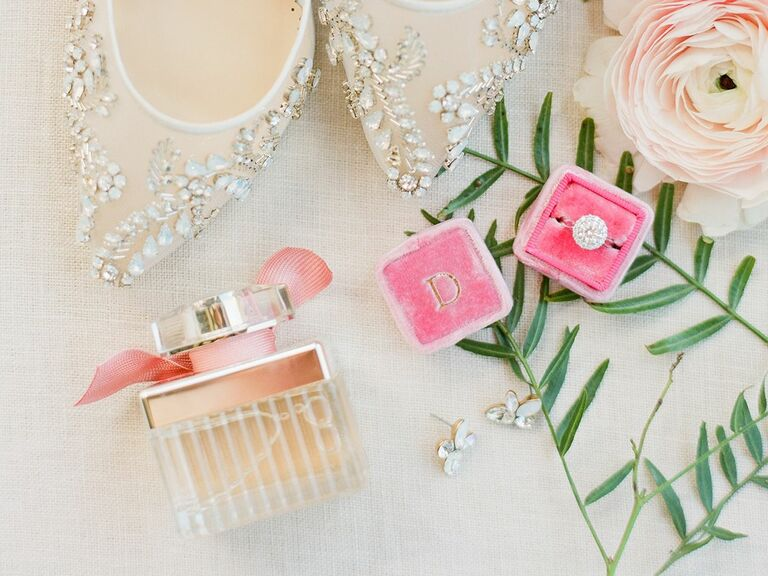 Wedding Day Perfume With Engagement Ring And Embellished Shoes