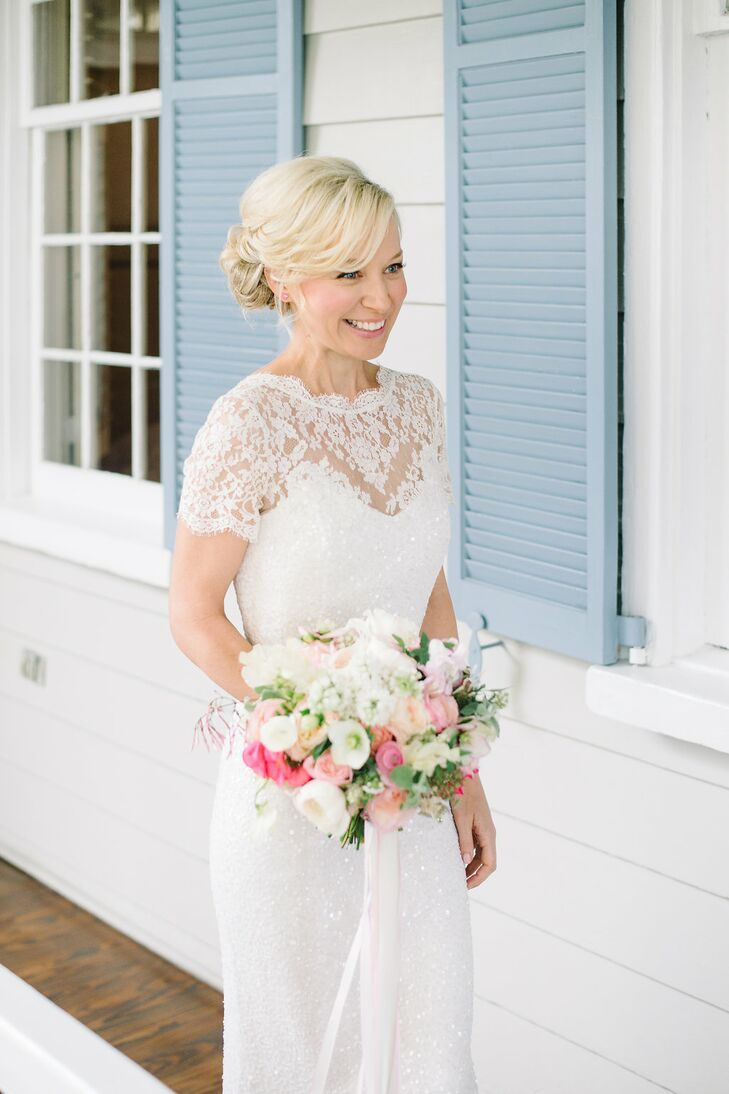 Lace Illusion Necklace Sequined Wedding Dress