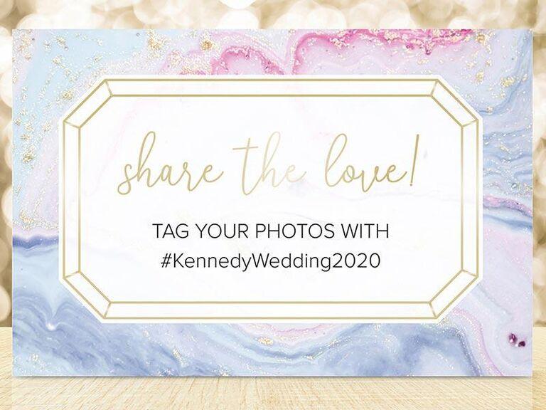 Wedding hashtag sign affordable decoration