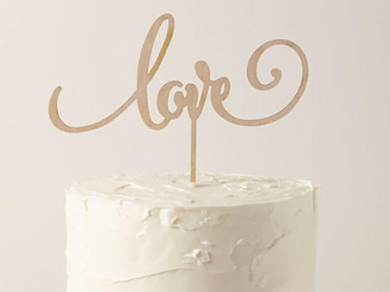 love wooden cake topper