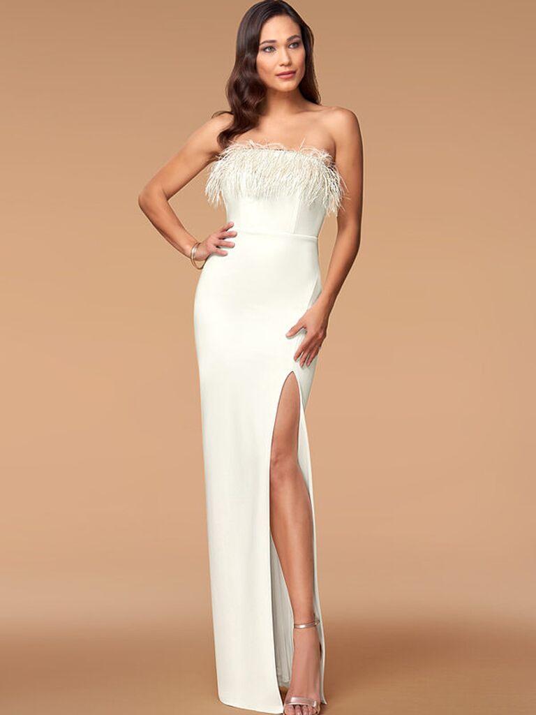 White strapless column dress with feathered neckline