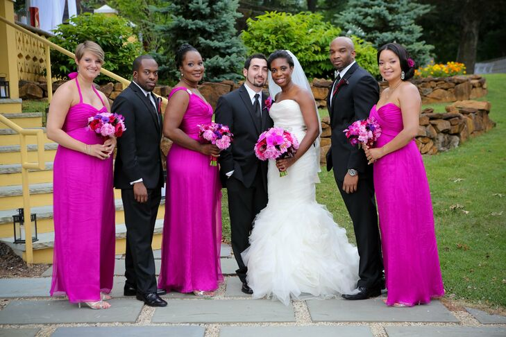The bridal party selected their own fuchsia-colored, Amsale dress silhouettes to wear for the celebration.