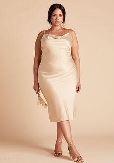 Birdy Grey Lisa Satin Midi Dress Curve in Gold Scoop Bridesmaid Dress