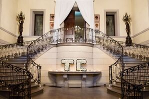 Glamorous Entryway with Monogram Made of Roses