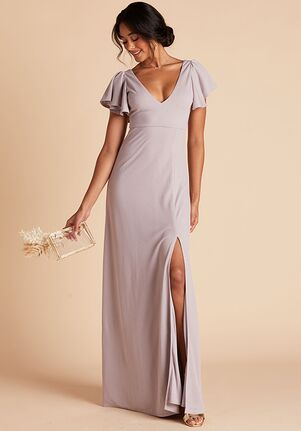 Birdy Grey Hannah Crepe Dress in Lilac V-Neck Bridesmaid Dress