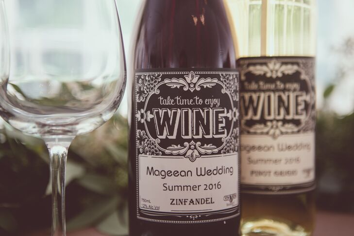 """Kelly-Ann and Michael had their own wine made from a winery in Barrie, Ontario: a white pinot grigio and a red zinfandel foreach table. """"We thought it would be more fun to have something different and save a bit on the cost,"""" Kelly-Ann says."""