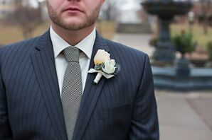 Thistle and Succulent Boutonniere