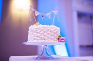 White Basket Weave Frosted Cake