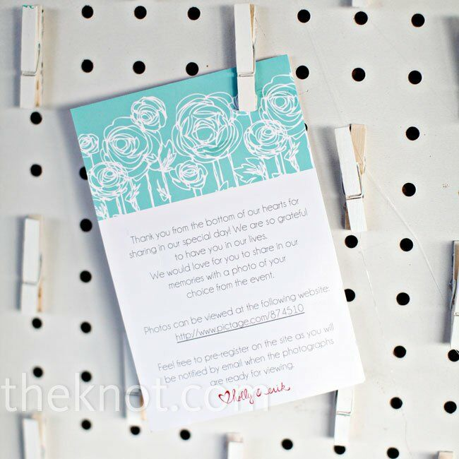 These sweet favor/menu cards shared information on how to get a 4x6 photo favor on one side and had the menu printed on the back.
