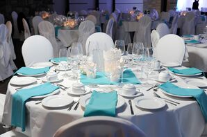 Turquoise Napkins and White Linens