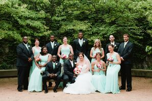 Mint Dresses and Navy Suits Wedding Party Attire