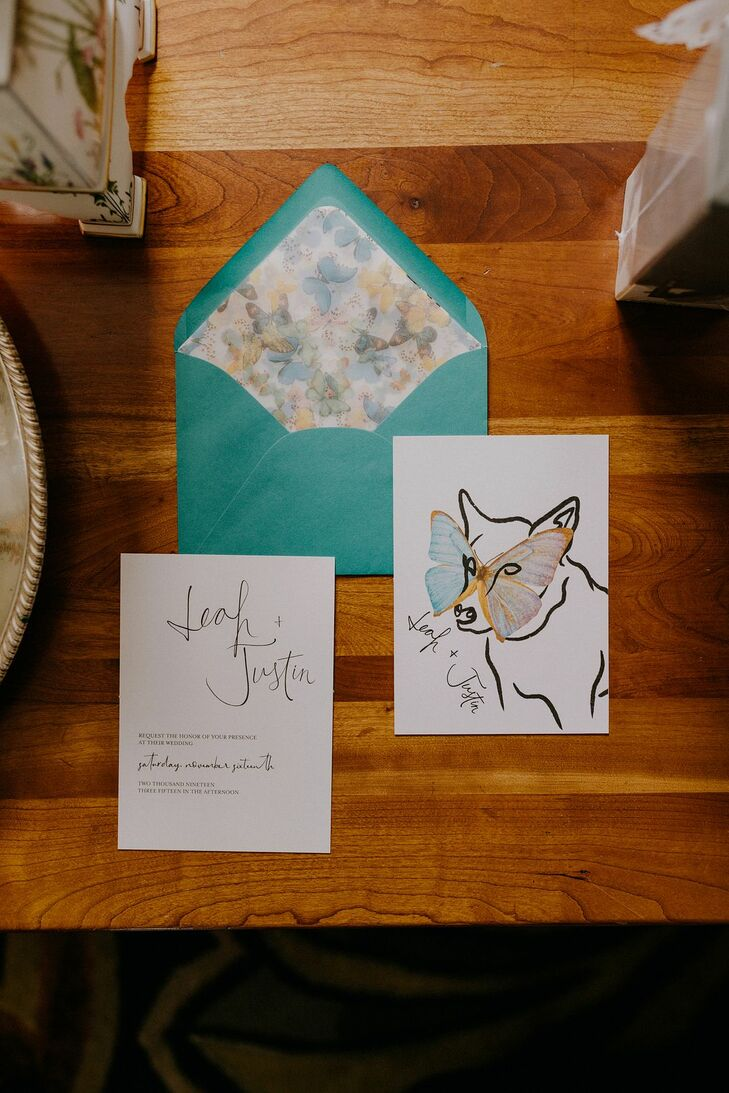 Wedding Invitations with Whimsical Artwork and Watercolor Butterfly Design