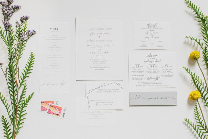 Modern, Minimal Invitation Suite with City Skyline and Calligraphy