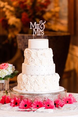 Round Tiered Cake with Rose Textured Frosting and Sequined Custom Topper