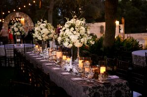White Hydrangea and Candle Centerpieces