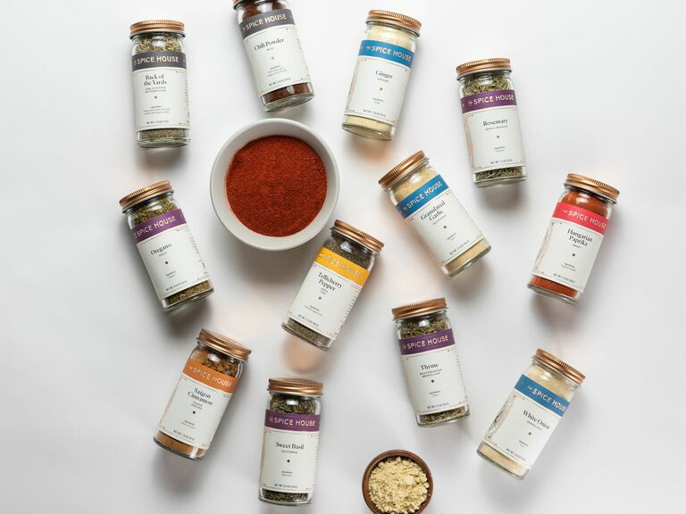 assorted kitchen spices flat lay