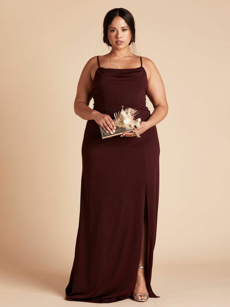 crepe plus size bridesmaid dress with skinny straps